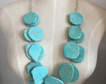 Long turquoise necklace double strands stone blue statement necklace