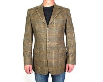 Vintage  Hugo Boss  Light  Brown Check Wool Blazer Sport Coat Jacket Size L
