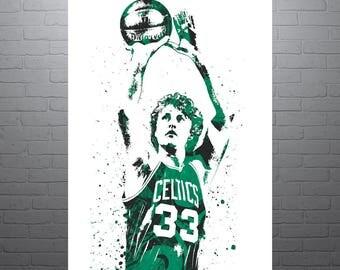 Larry Bird Boston Celtics, Sports Art Print, Basketball Poster, Kids Decor, Watercolor Contemporary Abstract Drawing Print, Man Cave