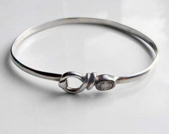 Vintage 925 Sterling Silver Heavy Cubic Zirconia Bangle