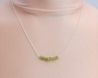 Sterling Silver Peridot Chip Bar Necklace