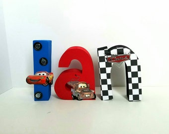 Disney cars wood name letters - PRICE PER LETTER - wood name letters - cars letters - disney cars letters -