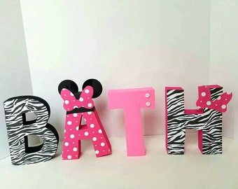 Minnie mouse zebra wood name letters - PRICE PER LETTER - minnie mouse name - zebra minnie mouse name - minnie mouse decor - zebra decor