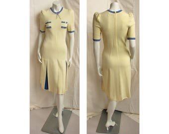 Vintage 1970s ADOLFO Dress Yellow Knit with Blue Trim, Pleated Skirt SAKS