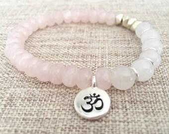 Rose Quartz Snow Jade Silver Om Bracelet, Yoga Bracelet, Meditation Bracelets, Healing Bracelet,Spiritual Bracelet, Gifts for Her, Silver Om