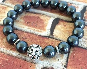 Hemalyke Silver Lion's Head Bracelet for Men, Gifts for Him, Protection Bracelets, Gifts Ideas for Men, Lion Bracelets, Beaded Bracelets