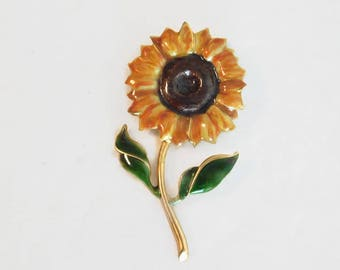 Pretty, Vintage Enamel Sunflower Brooch/Pin, Mint Condition! - Vintage Flower Jewelry, Enamel Jewelry, Sunflowers, Quality Vintage
