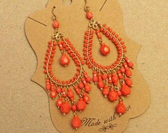 Coral Chandelier Earrings, Orange Chandelier Earrings, Orange Beaded Earrings, Earrings with orange beads, Earrings for Spring, Boho Earring