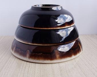 Vintage Gourmet Brown Drip Bowls Set of 3 - Vintage Nesting Bowls Gourmet Brown Drip - Vintage Gourmet Brown Drip Bowls Nesting - Brown Drip