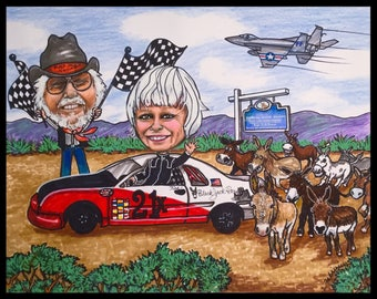 Custom caricature, retirement gift, retirement women, retirement men, military caricature, Air Force caricature, racing caricature