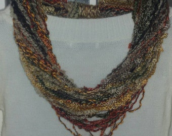 Multicolored necklace scarf handmade