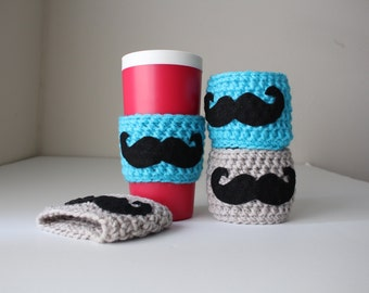 Ready to Ship, Crochet Mustache Cozy, Mustache Cozy, Cup Cozy, Mug Cozy, Mustache Mug Cozy, Coffee Cozy, Mustache Cup Sleeve, Beer Cozy