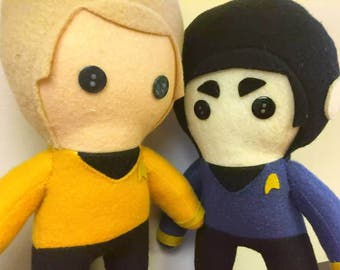 Kirk and Spock Star Trek Plush Dolls