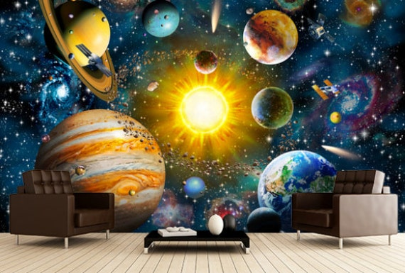 Large Photo Wallpaper Wall Murals Solar System Space Stars