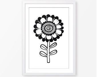 Kids poster,kids room decor,black and white,scandinavian style,flower poster,monochromatic,nursery poster,nursery decor,baby poster
