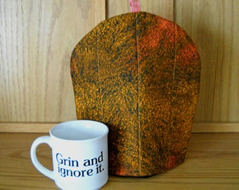 Coffee cozy//Coffee cosie//Quilted coffee cozy//Fabric coffee cozy//French press cozy//Brown peachy pink coffee cozy