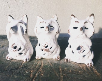 Vintage See, Hear and Speak No Evil Ceramic Fox