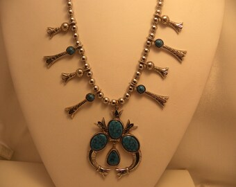 Vintage Signed ART Faux Turquoise Squash Blossom Necklace
