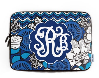 Monogram Laptop Case 13,Blue Flower Monogram Laptop Sleeve, Personalized Monogram Macbook Air 13 Case, Macbook Pro 15 Case, Laptop Bag 17