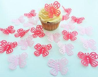 24 Edible Large Lace Hot Pink/Pink Butterflies Pre Cut Wafer Cupcake Toppers