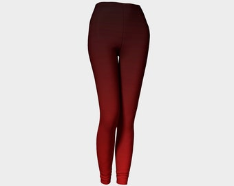 Black and red ombre leggings, printed, high waisted yoga pants, by Felicianation Ink