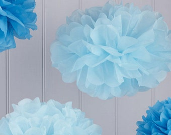 Paper Tissue Pom Poms pack of 3 Pastel Blue and 2 Dark Blue 32cm and 25cm Party Decoration