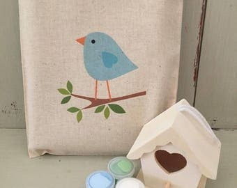 Personalised paint & design your own wooden bird house in 20 x 25cm cotton gift bag - blue bird or owl