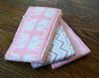 Burp Cloths-Set of 3-Pink and Gray Elephant, Pink Gingham, and Gray Chevron