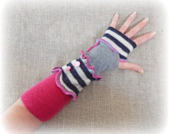 Funky Armwarmers, Striped Gloves, Fingerless Gloves, Upcycled Hand Warmers, Pink Wristwarmers, Eco Friendly, Recycled Mittens, Soft Cashmere