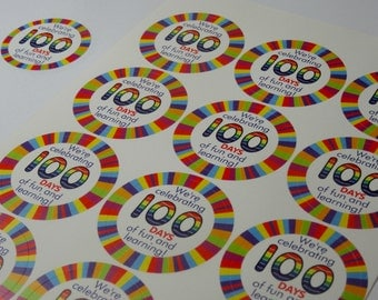 100 days of school stickers - 100th day of school stickers - 100 day party stickers - 100 days smarter