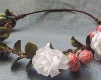 Winter Berry Flower Crown Headband Wedding Hair Wreath Women Or Girls Holiday Party Festival Floral Halo White Green & Red