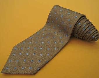 Bvlgari Tie Woven Silk Floral Pattern Brown Vintage Davide Pizzigoni Designer Dress 7 Fold Necktie Made In Italy