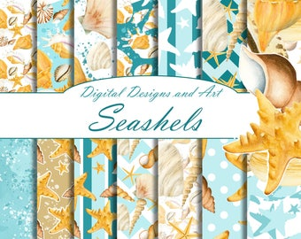 Seashell digital paper, Watercolor shells patterns, Digital background, watercolor paper pack, summer papers, sea patterns, handpainted