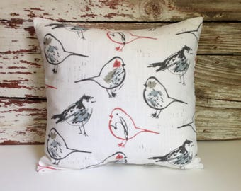 bird pillow cover/toile scarlet