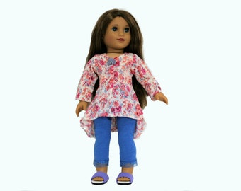 Pink, Peach, Blue and White Floral Print Burnout Top with Blue Leggings for 18 Inch Soft Body Dolls such as American Girl, Our Generation