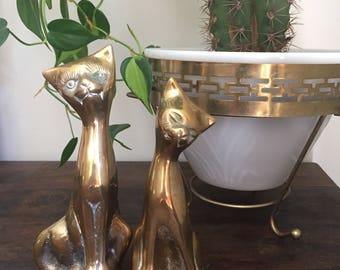 Vintage Pair Of Brass Cats, Brass Car Figurines