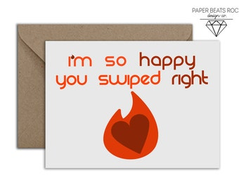 Tinder Boyfriend Girlfriend Birthday Card, Tinder Relationships HAPPEN Birthday Card, Funny Birthday Card, Swipe Right