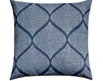 Navy White Geometric Pillow Cover, Indigo Blue Moroccan Tile Throw Pillow, Navy Pillow, Ogee Pillow Cushion Cover, Dark Blue Throw Pillow