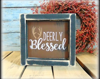 Housewarming Gift - Framed Wooden Sign - Deer Decor - Woodland Decor - Deer Sign - Woodland Nursery - Wood Shelf Sitter - Wildlife Wall Sign