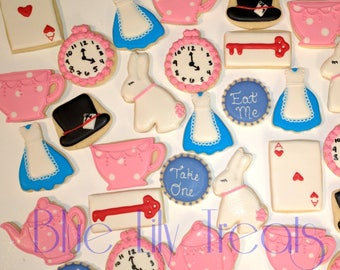 Alice In Wonderland Cookies- one dozen