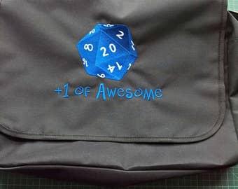 D20 Gamer Bag Tabletop Messenger Bag Embroidered Handbag Roleplaying DnD Boardgame Level Up Dungeons and Dragons Warhammer Warcraft