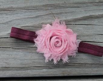 Pink and plum shabby flower baby headband