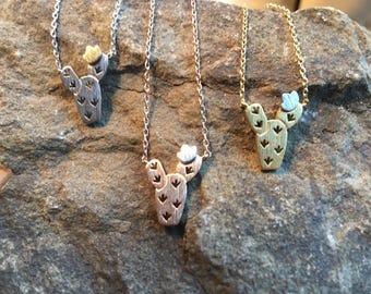 Cactus Flower Necklace, cactus necklace, cactus flower, prickly pear, cactus