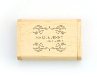 Personalized USB Box Wooden,Engrave on Bamboo Wooden Usb Box, DIY Box, Personlize USB Flash Drive Box Gift , Customize Box for Your Own