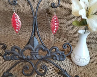 LC Country Chic Red Feather  Earrings