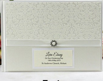 Personalised Christening/Baptism/Naming Day Guest Book Memory Album - Pearl