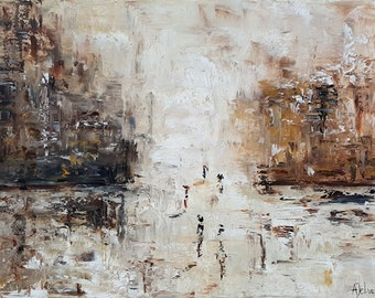 City art City oil painting City painting Brown art Brown painting City wall décor Abstract city art City figurative art Abstract city 18x24""