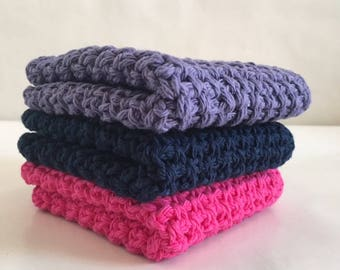 Crochet 100% Cotton Wash/Dish Cloths Hot Pink Navy Blue Purple Set of 3 Ready to Ship