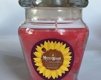 Jar Candle 100% Soy with cotton wicks. Double scented throughout. 12 oz