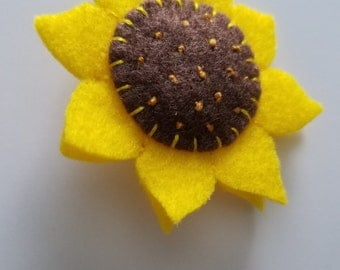 Sunflower Brooch/ Felt Sunflower/ Sunflower Pinback Button